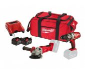 Milwaukee M28 PP H Perceuse visseuse à percussion (HD28 PD) & Meuleuse d'angle (HD28 AG-115) à batteries 28V Li-Ion combiset (2x batterie 3,0Ah) dans sac - 4933413815