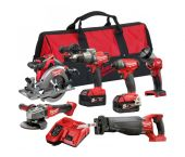 Milwaukee M18 FPP6A-502B Fuel Pack 6 machines à batteries 18V Li-Ion set (2x batterie 5.0Ah) dans sac - moteur sans charbon - 4933451243